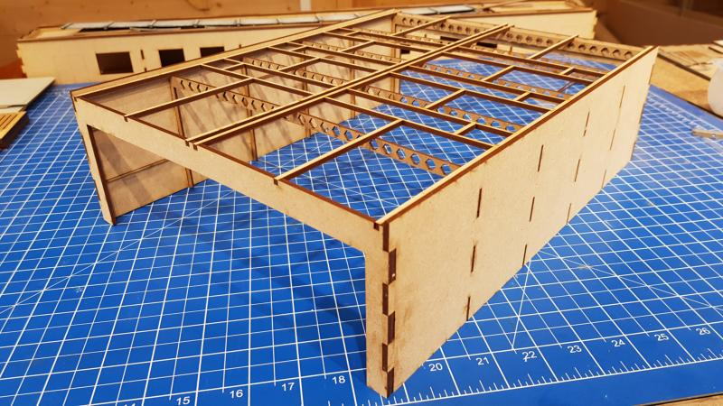 laser cut 3 road refuelling shed