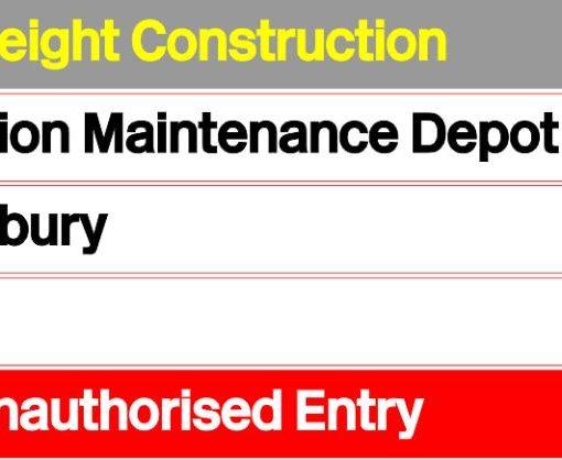 Railfreight Construction Diesel Depot Sign - Railway Laser Lines