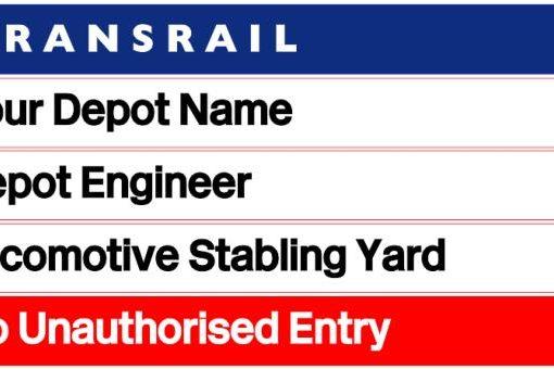 Transrail Diesel Depot Sign - Laser Cut - Railway Laser Lines