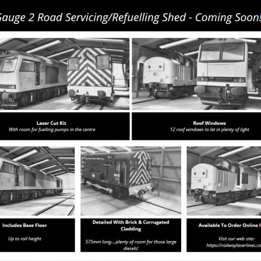 O Gauge 2 Road Servicing/refuelling Shed From Railway Laser Lines
