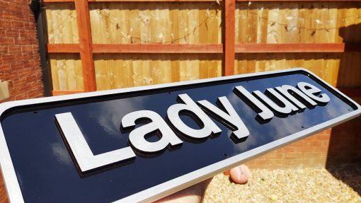Custom Made Nameplate - Railway Laser Lines