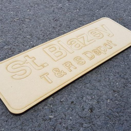 Laser Cut Nameplate Kit 'St.Blazey T&RS Depot' carried by 37670 - Railway Laser Lines